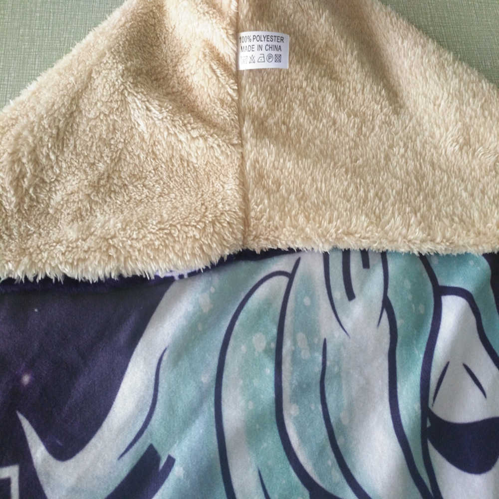 Anime Princess Mononoke Printed Plush Hooded Blanket For Adults Kid Warm Home Sofa Wearable Double layer Fleece Throw Blankets