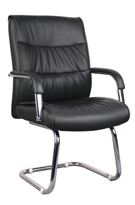 Office Armchair BREMEN, Fixed Skate, Plating, Similpiel Black