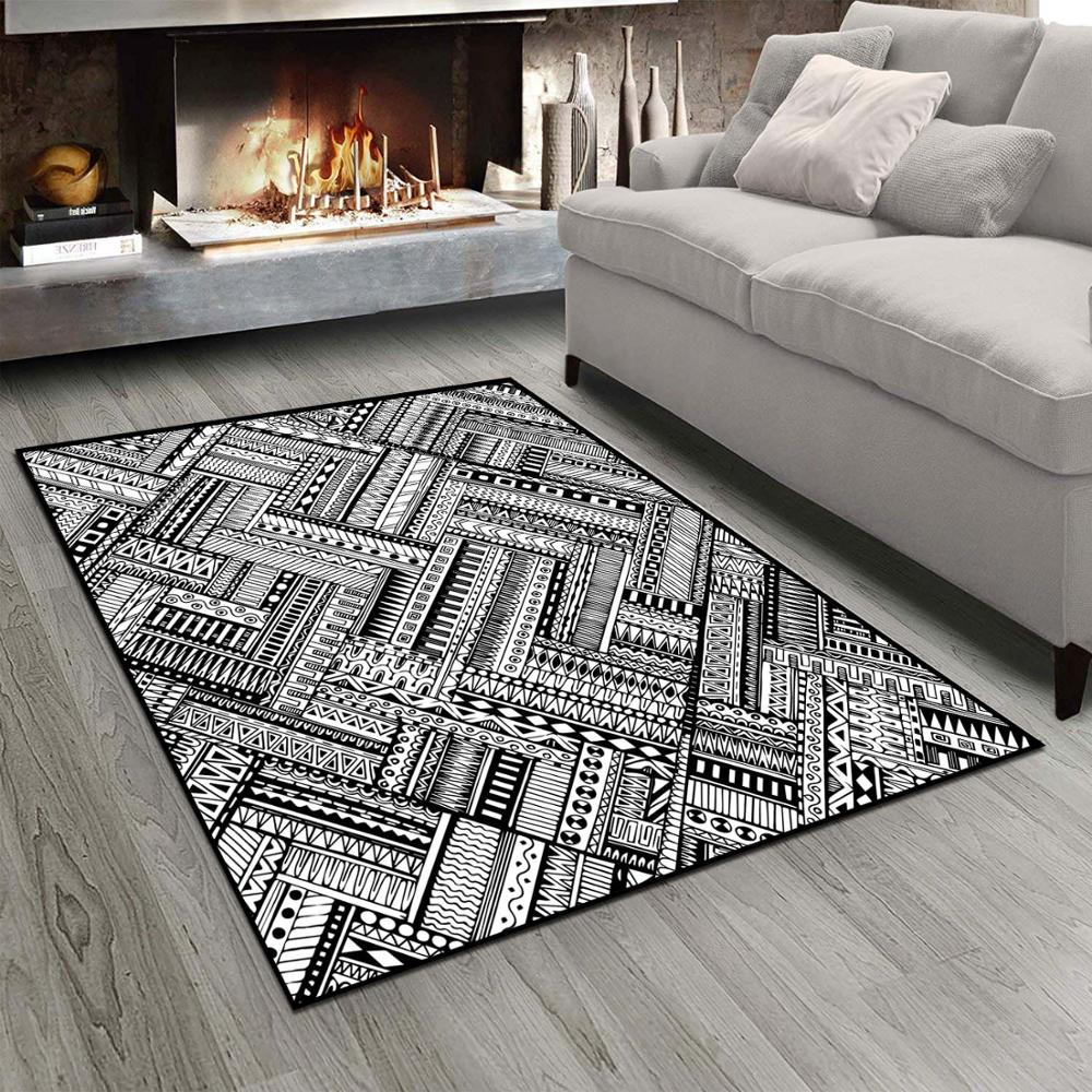Else Black White Geometric Authentic Authentic  3d Print Non Slip Microfiber Living Room Modern Carpet Washable Area Rug Mat