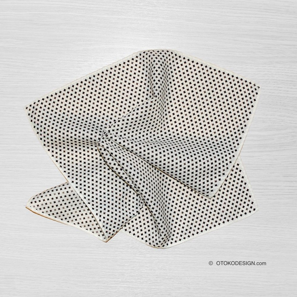 White Pocket Square In Fine Black Cross (52375)