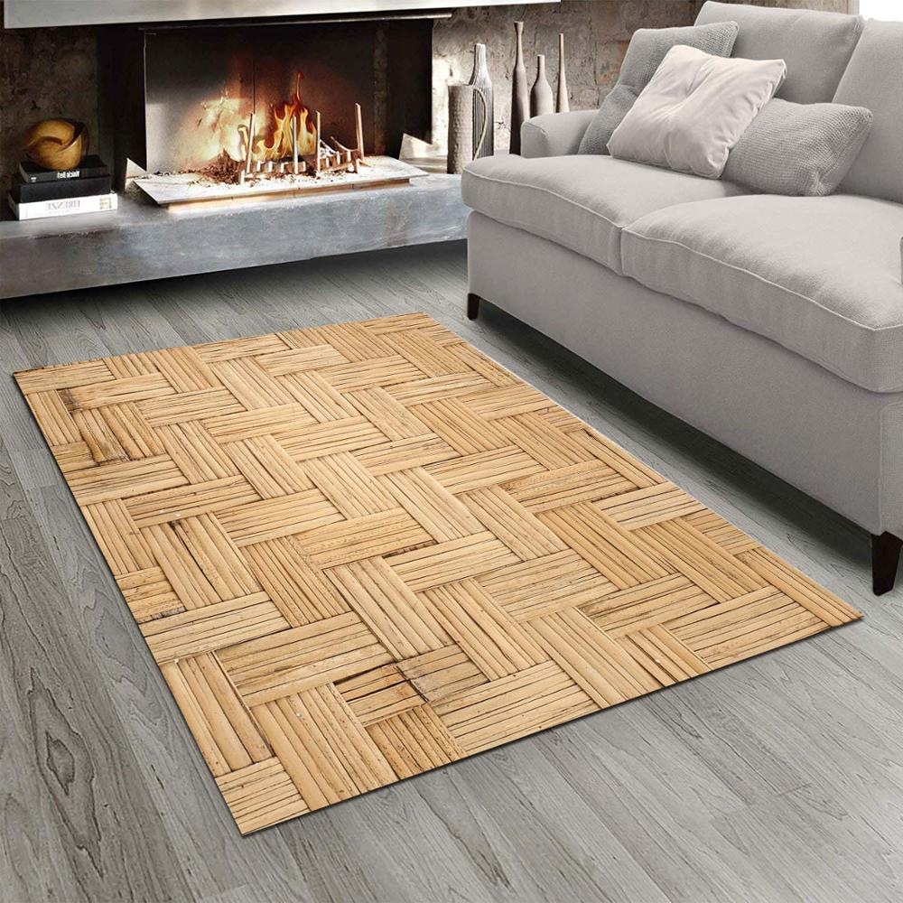 Else Brown Wicker Bamboo Design  3d Print Non Slip Microfiber Living Room Modern Carpet Washable Area Rug Mat
