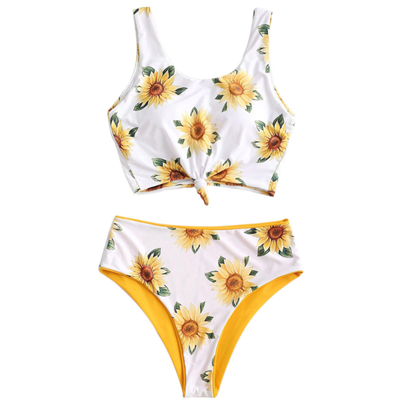 Women Floral Padded Bikini Swimwear Sunflower Monokini Bikinis Set Two Sides Bathing Suit Swimsuit Beachwear Summer