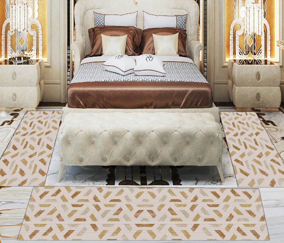 Else 3 Piece Yellow Brown Lines Geometric 3d Print Non Slip Microfiber Washable Decor Bedroom Hallway Area Rug Carpet Set