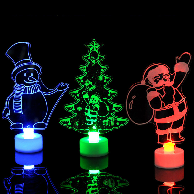 Colorful LED Decorative Night Lights New Year's  Christmas Tree Santa Claus Snowman Decorations Party Supplies