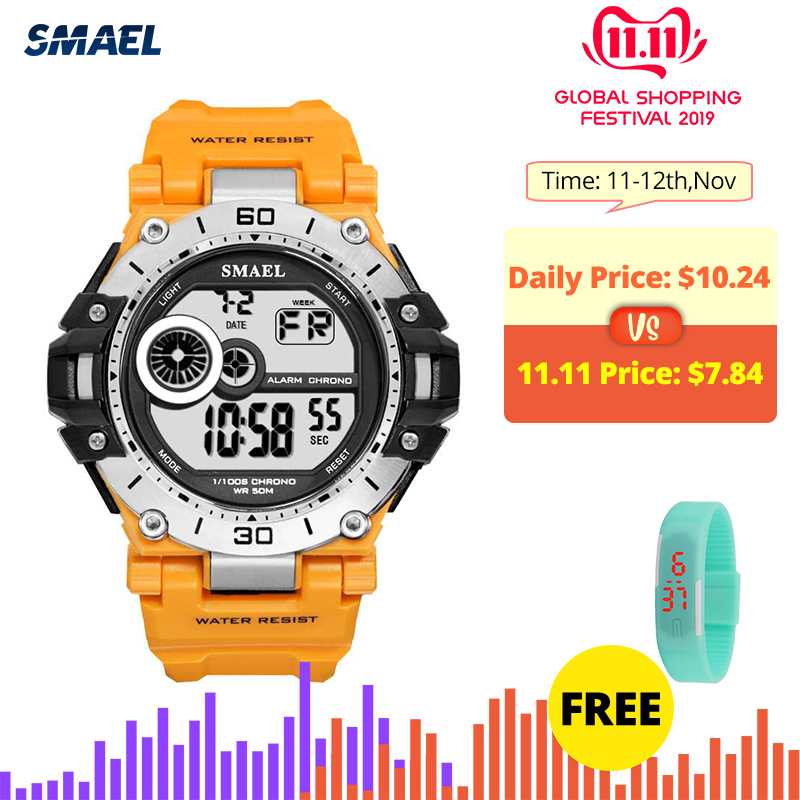 SMAEL Sport Military Watches Men Waterproof 50M Clock Chronograph Back Light Stop Watch Men Analog Digital Watch Male Relogio