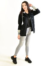 Women's Hooded Button Black Denim Coat 1121