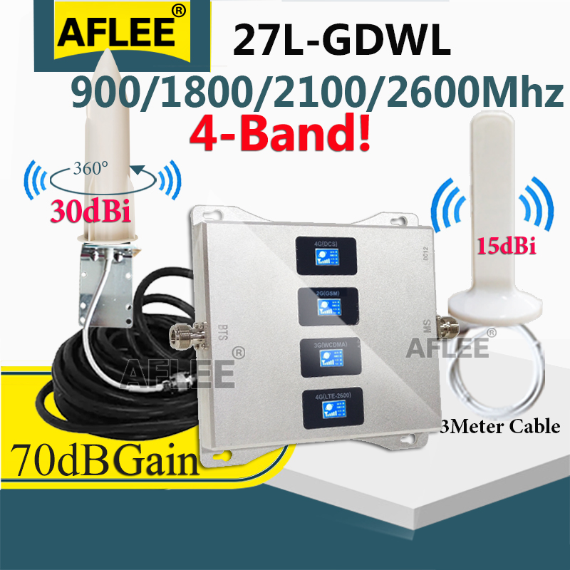 Amplifier 4G Multi-Band 900 1800 2100 2600mhz CellPhone Cellular Amplifier GSM Repeater 2G3G4G Mobile Signal Booster Repeater