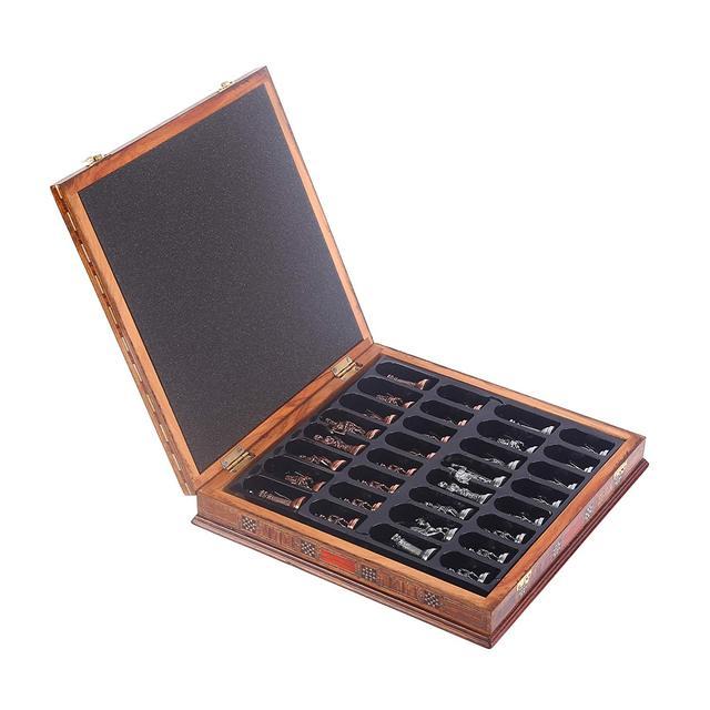 Jeu d'échecs en cuivre  figurines pharaon égyptien, pièces en métal massif faites à la main, échiquier en bois massif naturel, rangement à l'intérieur 6