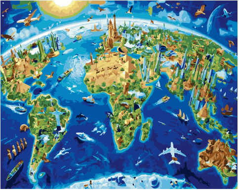 Painting By Numbers GX 34461 World Map 40*50