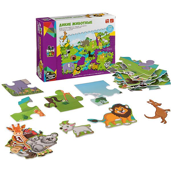 Puzzle mat Bondibon Wild animals, with figures-pads, 60x80 cm figures print tote bag with chain strap