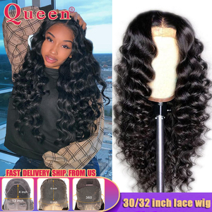30 32 inch Long 13x4/13x6 Loose Deep Wave Lace Front Human Hair Wigs Brazilian 360 Lace Frontal Wig 100% Human Hair Wigs Queen(China)