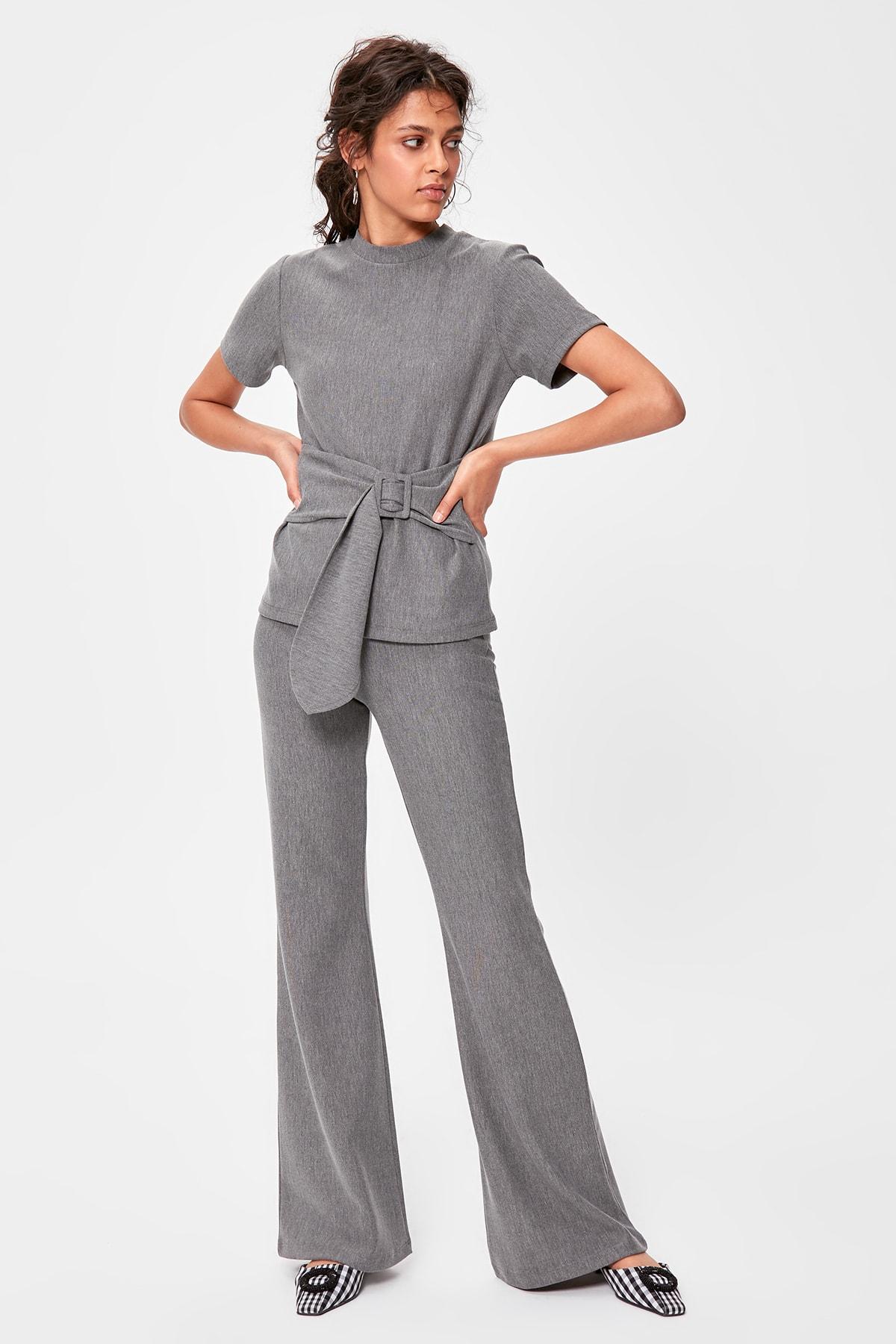 Trendyol Gray Knitted Pants TWOAW20PL0235