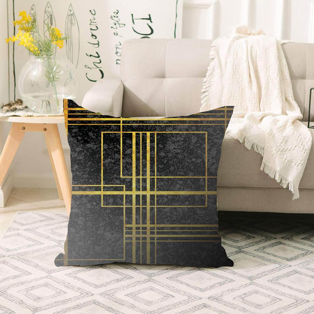 Else Black Golden Yellow Lines Geometric Scandinavian 3d Print Sofa Large Pillow Case Floor Cushion Covers Hidden Zipper 70x70cm