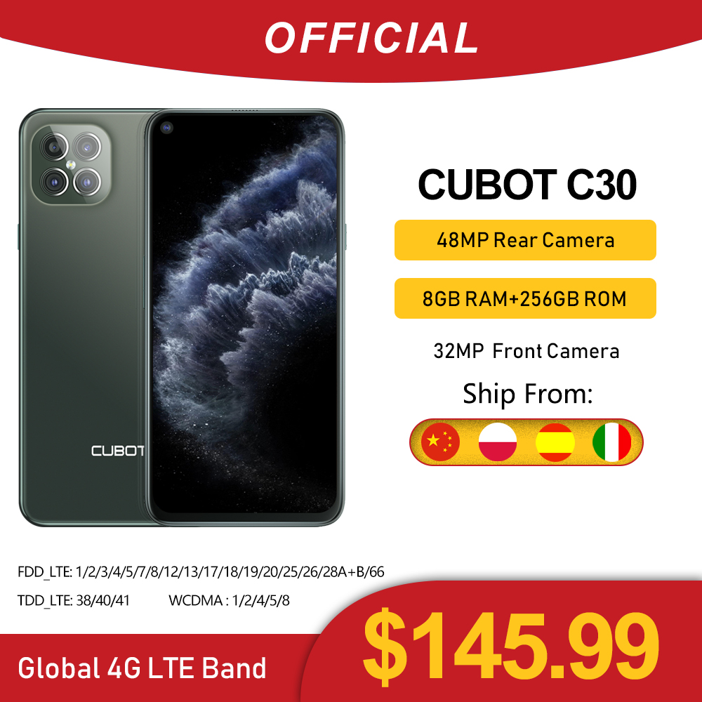 Cubot C30 48MP Quad AI Camera 8GB+256GB 32MP Selfie Smartphone Global 4G LTE Helio P60 NFC 6.4 Inch FHD+ 4200mAh Android 10|Cellphones| - AliExpress