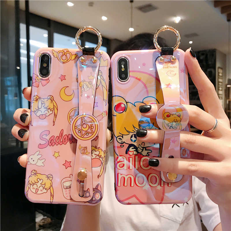 Sailor Moon untuk iPhone 11 Pro XR X XS Max Kawaii Sailor Moon Mars Case untuk iPhone 7 8 6 6S Plus Pergelangan Tangan Tali Penutup