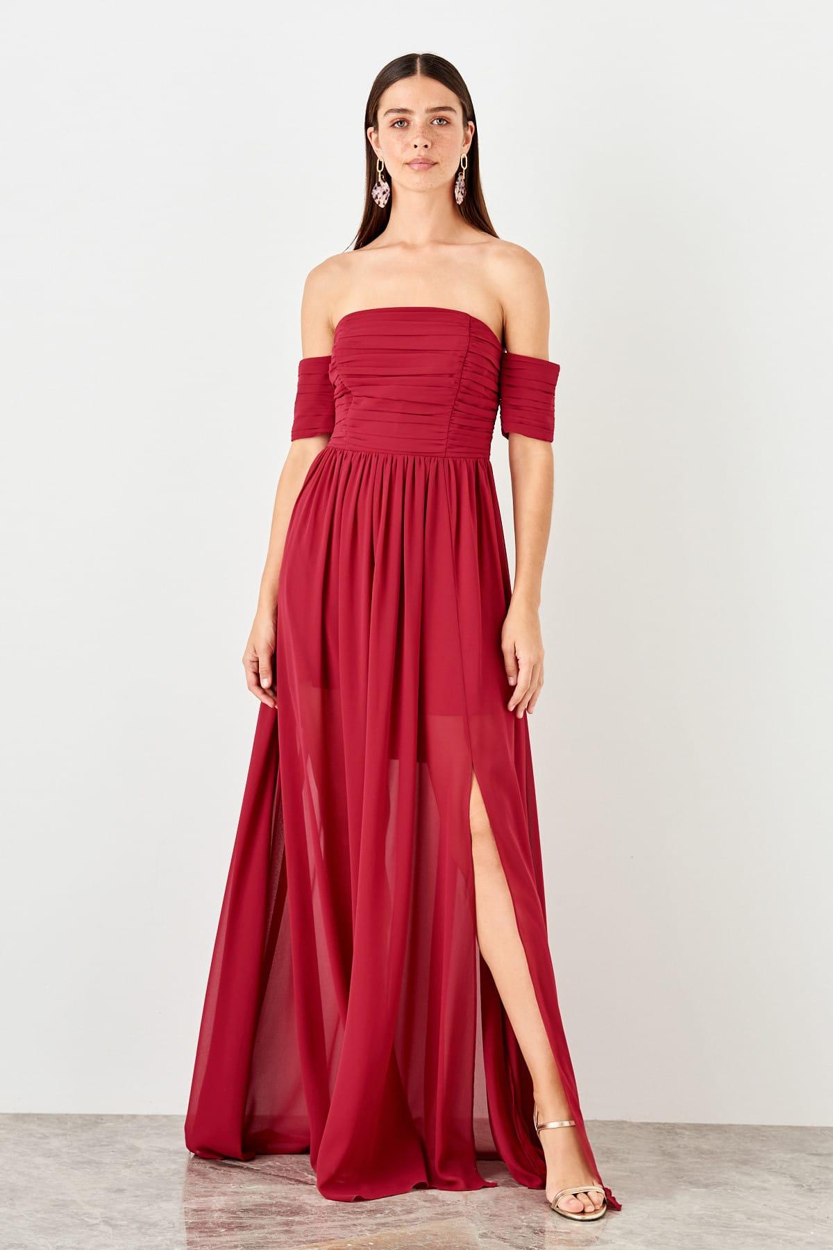 Trendyol Strapless Evening Dress TPRSS19UZ0128