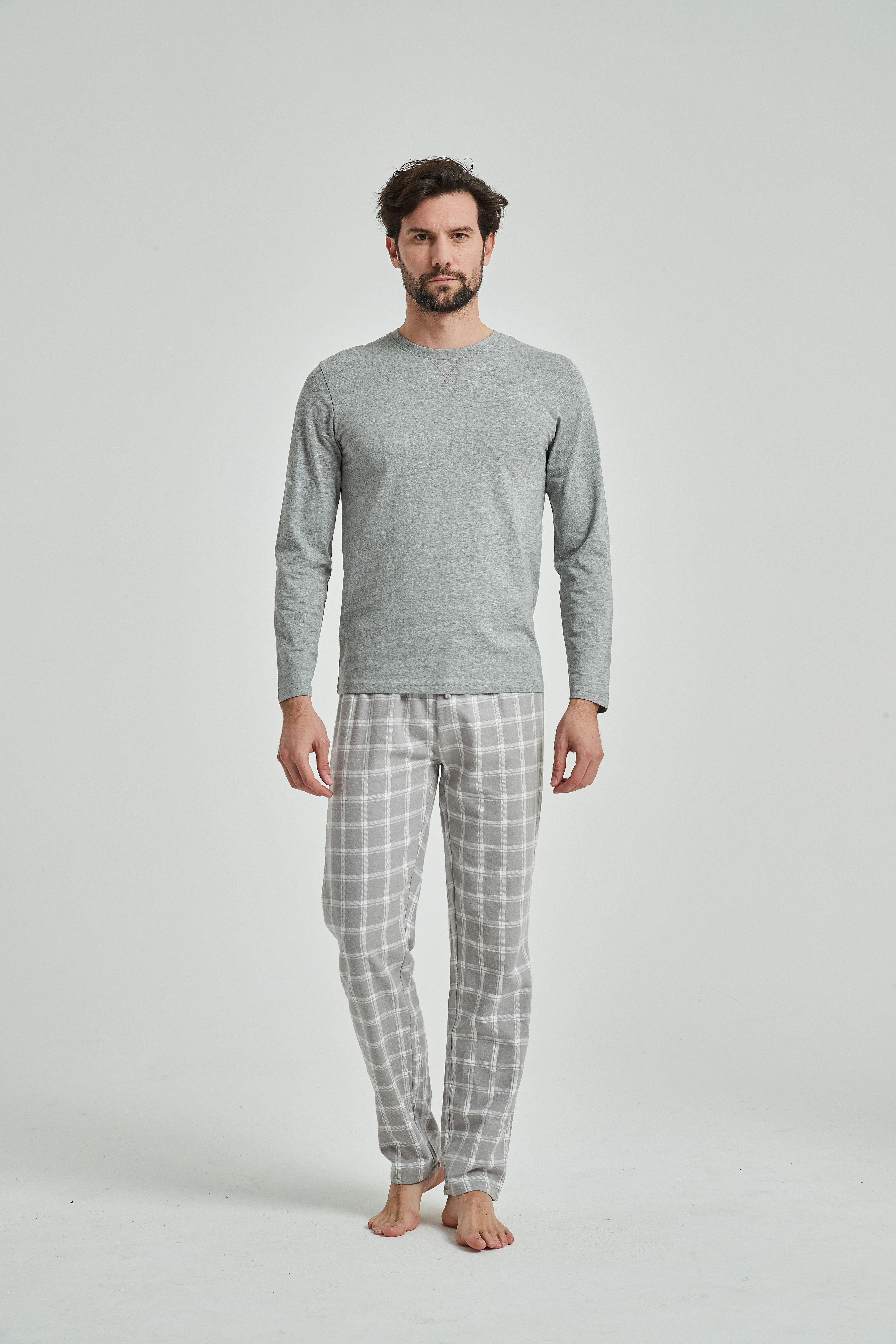 PimpamTex-Man Pajamas Flannel 100% Cotton Long Sleeve And Long Pant-dog