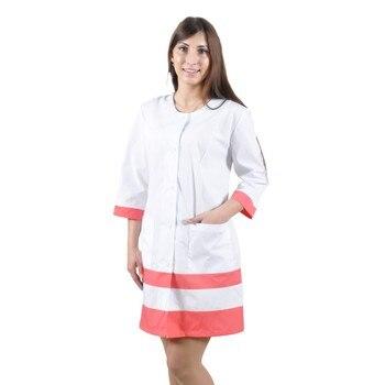 цена Female medical robe IVUNIFORMA Olesya White with персиковыми inserts онлайн в 2017 году