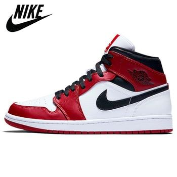 где купить Authentic Original Nike Air Jordan Retro 1 Mid AJ1 TS Chicago 2020 Men Shoes Women Basketball Sneakers дешево