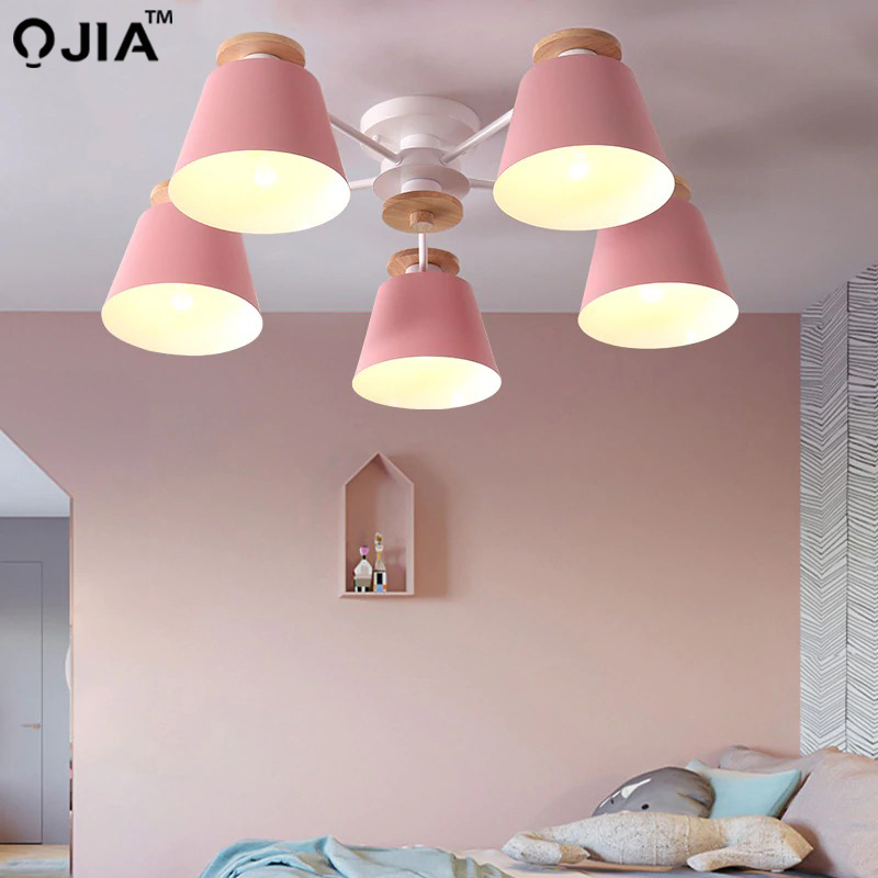 Image 2 - Chandeliers  Living Room suction top Lighting grey green blue yellow pink body Wooden Hanging Light Lampshade Kitchen Lights-in Chandeliers from Lights & Lighting