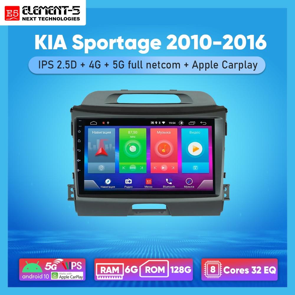 Автомагнитола ELEMENT-5, 9 дюймов, 6 + 128 ГБ, Android 10, 4G, Wi-Fi, RDS, DSP, мультимедийный видеоплеер для KIA Sportage 2010-2016, GPS-навигация