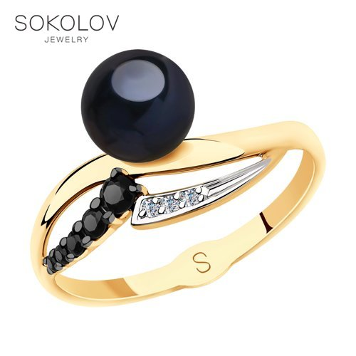 SOKOLOV Ring Gold With Black Pearls And Cubic Zirkonia Fashion Jewelry 585 Women's Male