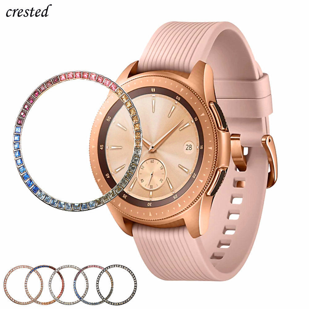 Colored Diamond Case For Samsung Galaxy Watch 42mm Bezel Ring Protector Cover Sport Fashion Adhesive Metal Bumper Accessories 42