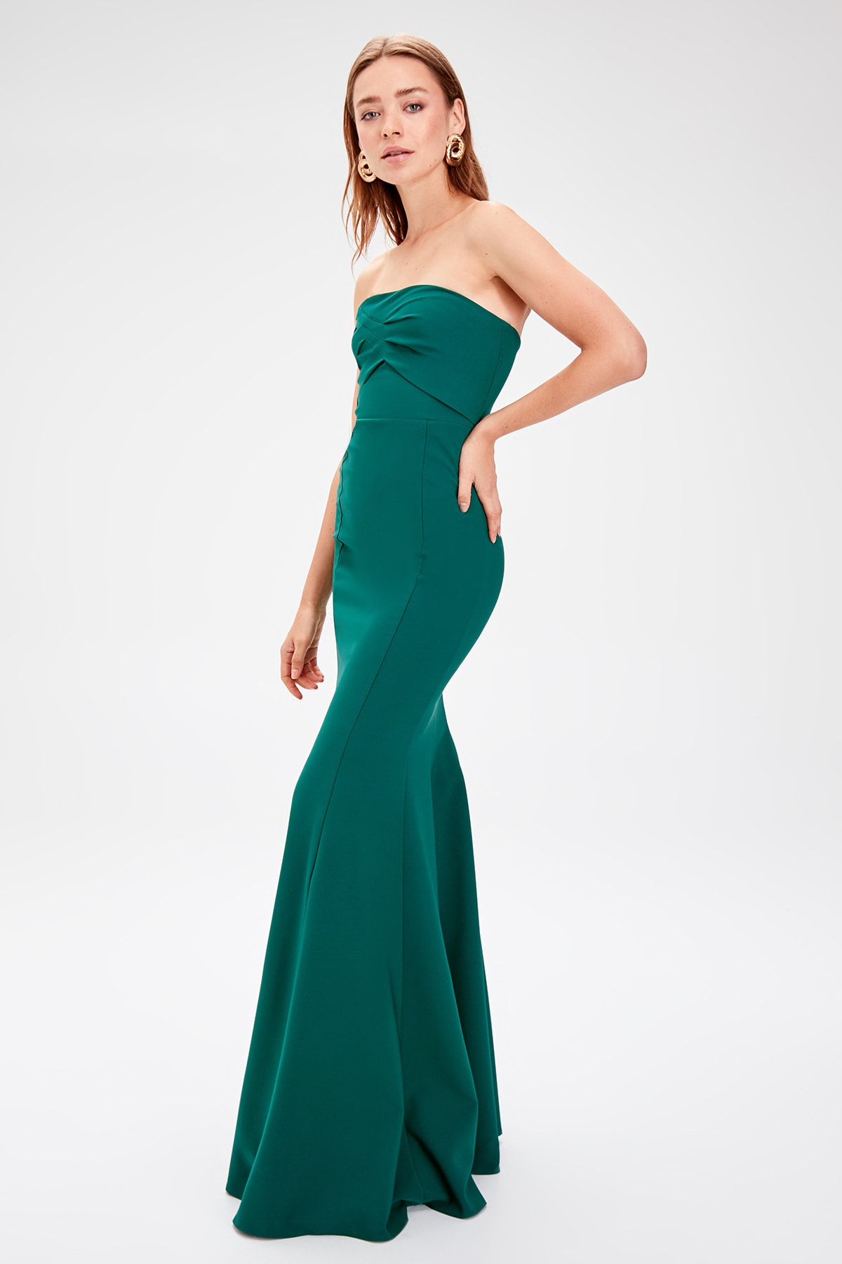 Trendyol Colar Drapeli Evening Dress TPRSS19AE0072