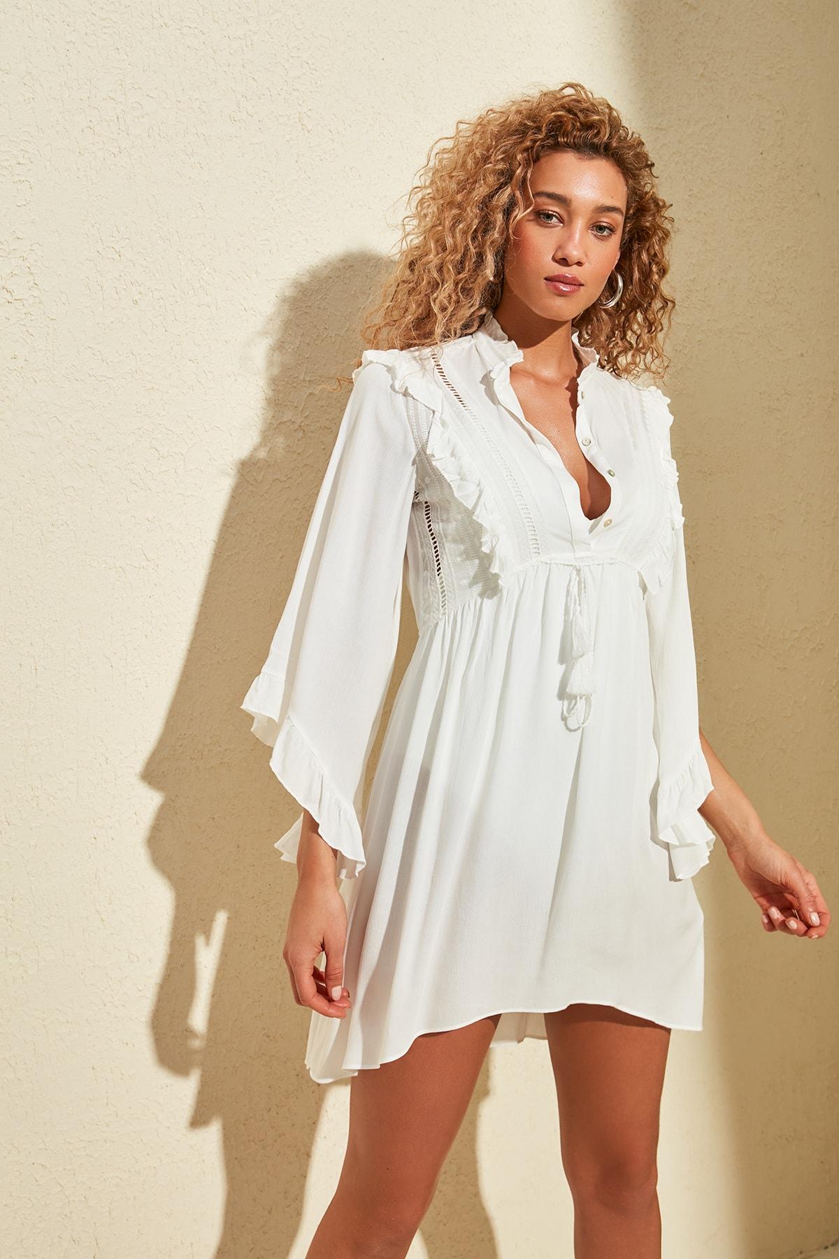 Trendyol Flounces Asymmetrical Cut Viscose Dress TBESS20EL0840