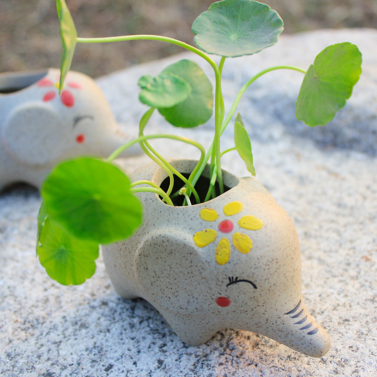 Cute Plant Pots Part - 42: Cute Elephant Ceramic Flower Pot Desktop Flower Pots Planters Ceramic  Crafts Gift Free Shipping-in Flower Pots U0026 Planters From Home U0026 Garden On  ...