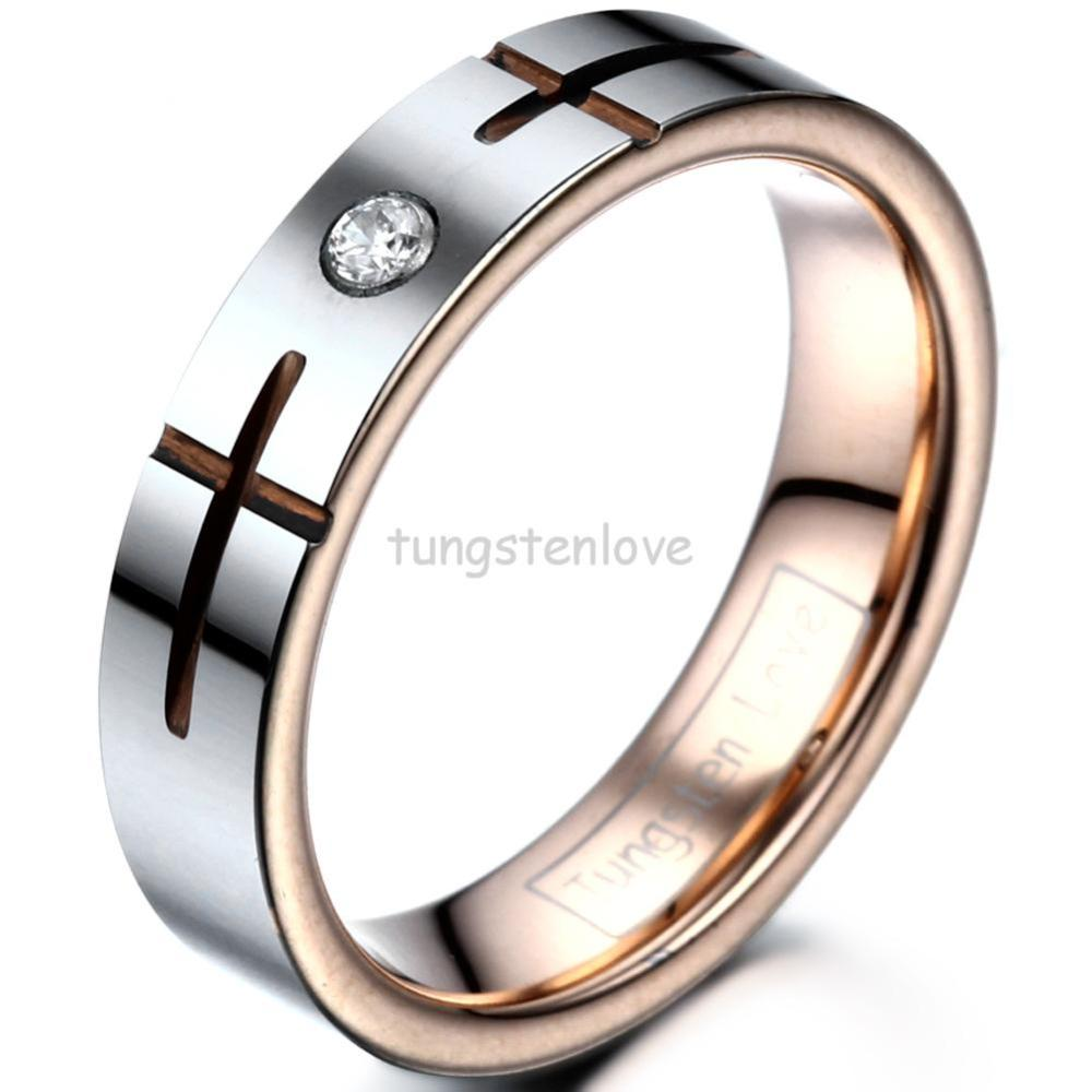 High Quality 5mm Unsex Women Wedding Rings Tungsten Rose Gold Color Cross Grooved Finished With Cubic Zirconia Inlayin Engagement From Jewelry: Wedding Rings Tungsten Crosses At Websimilar.org