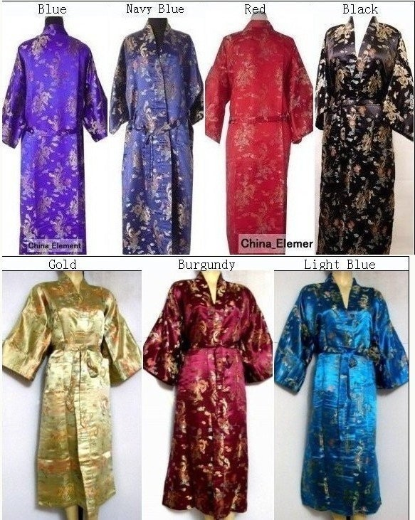 Hot Sale Black Chinese Men s Polyester Satin Robe Dragon phenix ... f7e9a2866
