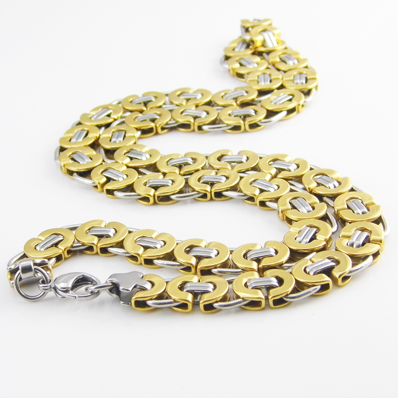 55 cm Length 11mm Width Byzantine Stainless Steel Necklace MENS ...