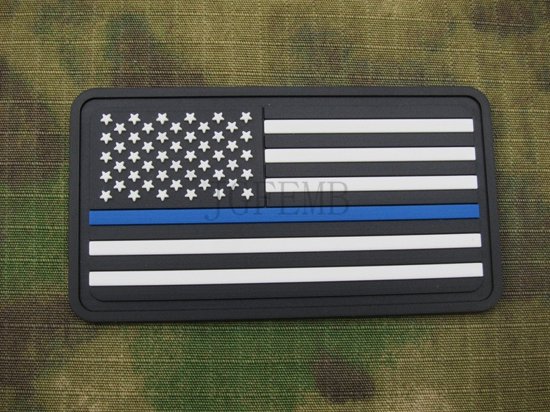 78e6108f4412 black backgroung white design The thin blue line America flag Police SWAT  Military Morale 3D PVC Patch PB1364