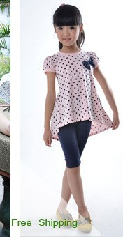 лето отложным вниз стоит точка кружево группа дизайн девочки одежда дети laden cart - рукав футболки c0347