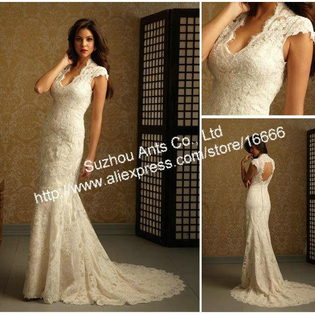 Cap Sleeve Mermaid 2014 Lace Wedding Dress Backless Ivory Court Train Button Formal CW155