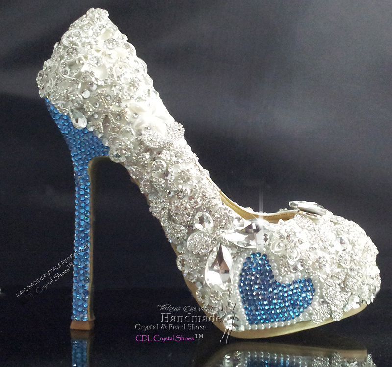 Handmade Crystal Sky Blue And Rhinestone Bridal Shoes Wedding