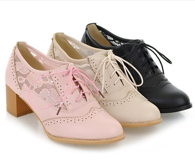 New 2015 Women Patent Leather Thick Heel Lace Up Oxford Shoes For ...