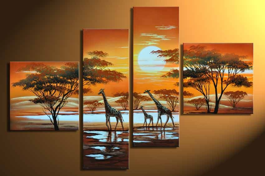 Hand Painted Oil Painting On Canvas 4 Piece Canvas Wall Art Living Room  Modern Decorative Painting Landscape Tree Giraffe Part 97