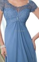 синий с коротким рукавом кружево шифон мать невесты платья вечернее платье все размеры
