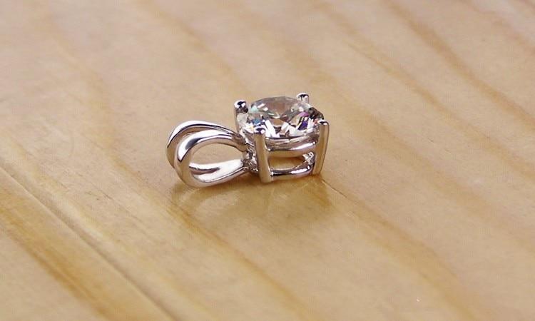 1CT блестящая бижутерия повезло кулон слайд 750 Цепочки и ожерелья искусственные бриллианты SONA кулон Обручение 750 золотые украшения камень-оберег