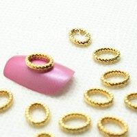 В 3D сплав маникюр украшение о золотой кольцо 7 * 9 мм, 50 шт./лот