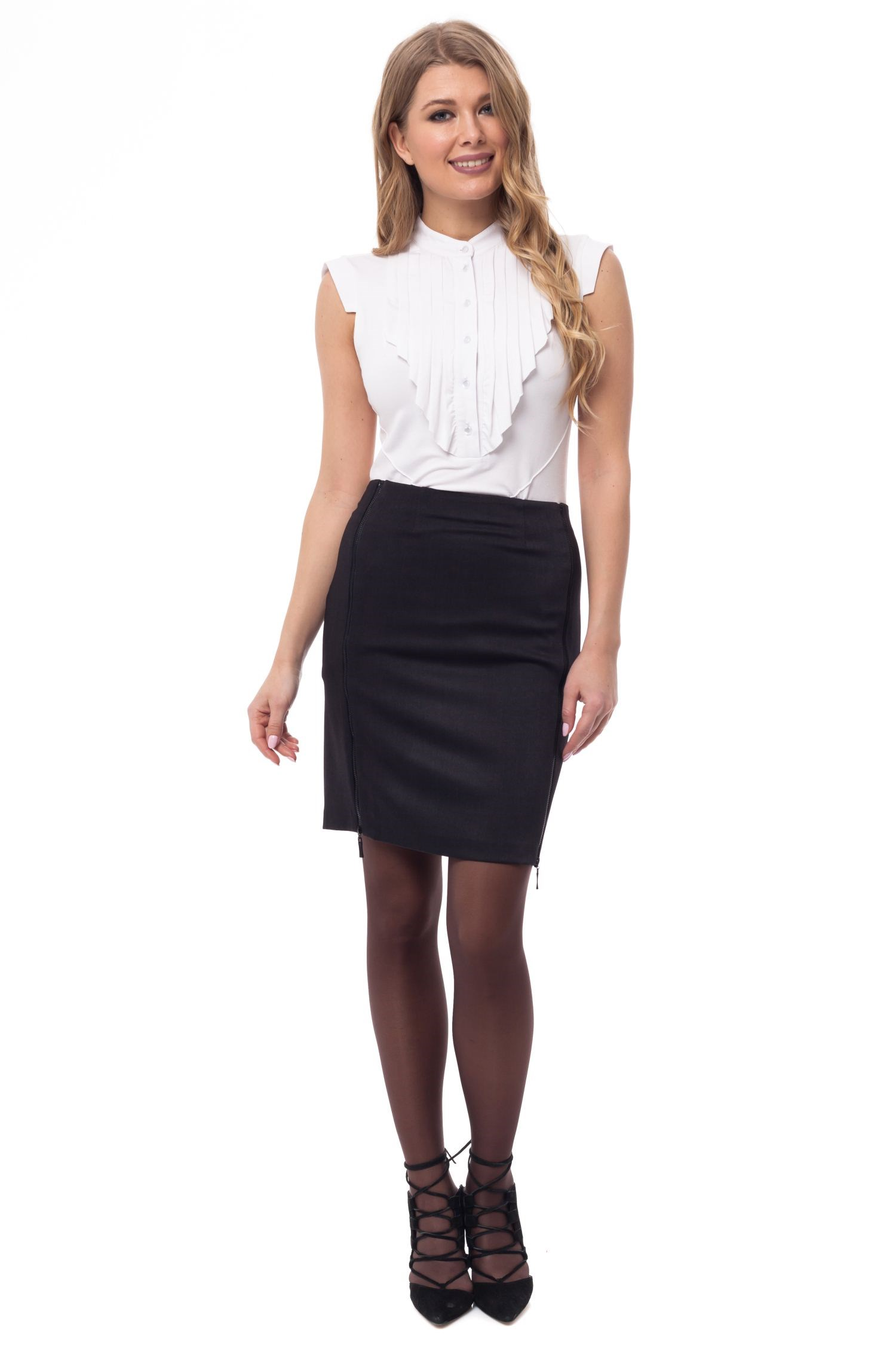 Pencil skirt with decorative zippers. skirt with slit