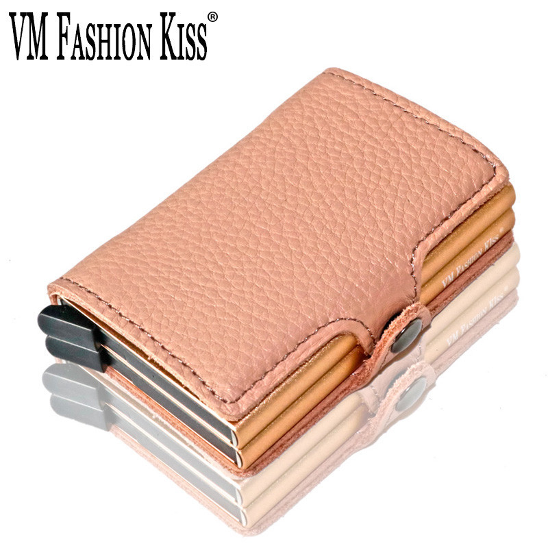 VM FASHION KISS Soft Leather RFID Mini Wallet Security Information Double Box Business Credit Card Holder Color Metal Purse