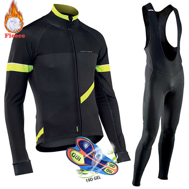 <font><b>2019</b></font> Pro Team <font><b>NW</b></font> Winter Thermal Fleece Cycling Clothes Men <font><b>Northwave</b></font> Jersey Suit Outdoor Riding Bike MTB Clothing Bib Pants Set image