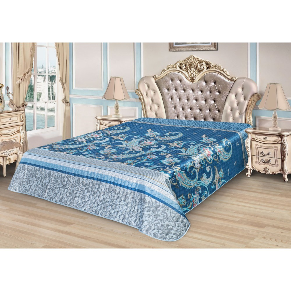 Bedspread Ethel Silk Inspiration, size 200*220 cm, faux Silk 100% N/E flounce sleeve faux pearl beading lace top