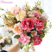 PATIMATE Rose Artificial Flowers For Wedding Decoration Silk Fake Floral Bouquet Home Decor Party Supplies