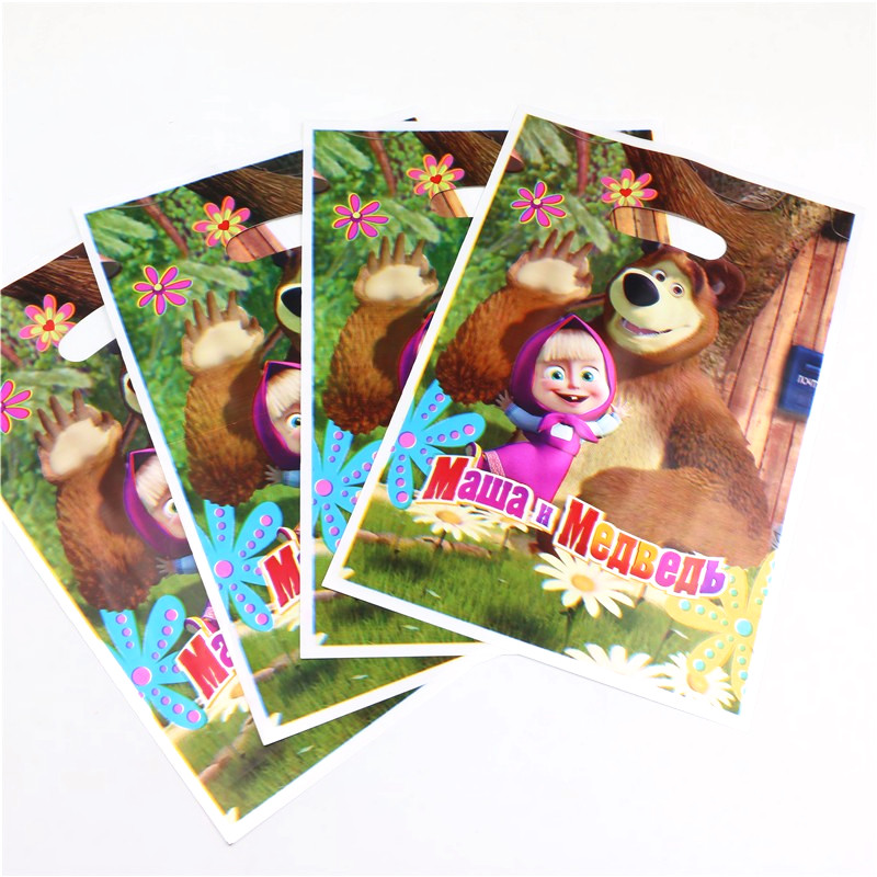 10Pcs Masha And Bear Plastic Gift Bags 16.5*25cm Cartoon Disposable Gift Bag Kid Boy Girl Birthday Party Theme Party Suppies