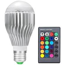 10W RGB light bulb E27 85-265V 16 change Color RGB magic light bulb lamp Led light spotlight with Remote Control memory function(China)