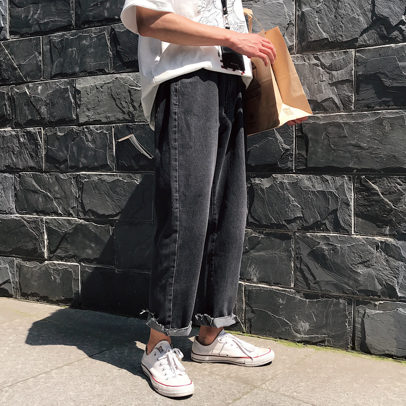 2019 New Spring And Summer Korean Casual Couple Men's Cotton Loose Trend Handsome Broken Straight Jeans S-2XL Size Hip Hop Best